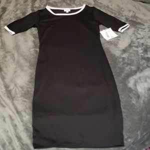 NEW Solid Black Julia White Ringer Bodycon Dress